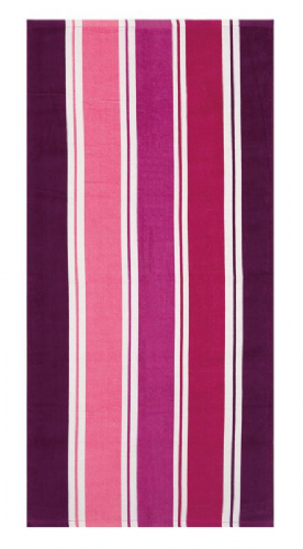 LARGE COTTON VELOUR BEACH HOLIDAY TOWEL '' MILLER STRIPE AUBERGINE DESIGN ''